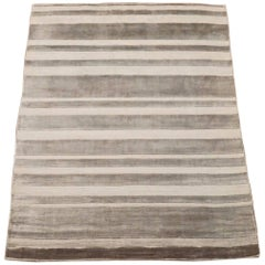 Contemporary Striped Bamboo Silk Area Rug
