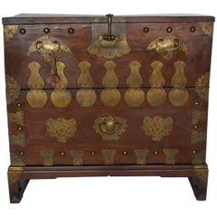 19th Century Korean Bandaji Storage Chest with Original Brass Hardware