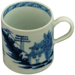 "Coffee Can, Blue and White ""Desirable Residence"", Bow Porcelain, circa 1758"
