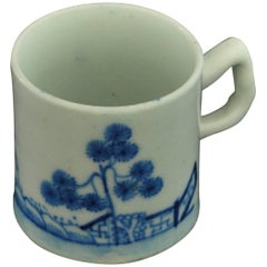 "Coffee Can, Blue and White ""Banana Trees"", Bow Porcelain, circa 1753"