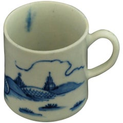 "Coffee Can, Blue and White ""Ribbon Landscape"", Bow Porcelain, circa 1753"