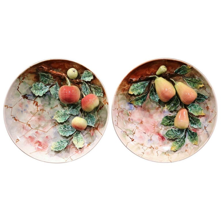 Pair of 19th Century French Painted Ceramic Barbotine Platters with Fruit Decor For Sale