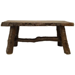Rustic American Adirondack Style, Walnut Rectangular Top Dining Table