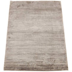 Modern Bamboo Silk Area Rug with Striped Design