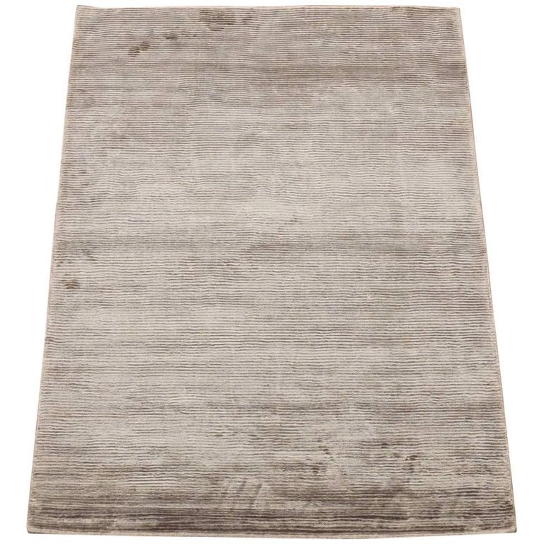 Modern bamboo silk area rug with striped design for sale for Modern area rugs for sale