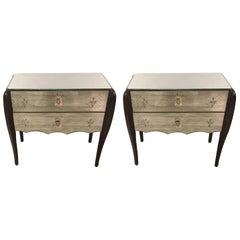Glamorous Pair of Mirrored French Deco Nightstands