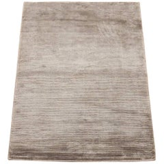 Solid Bamboo Silk Area Rug with Striped Design