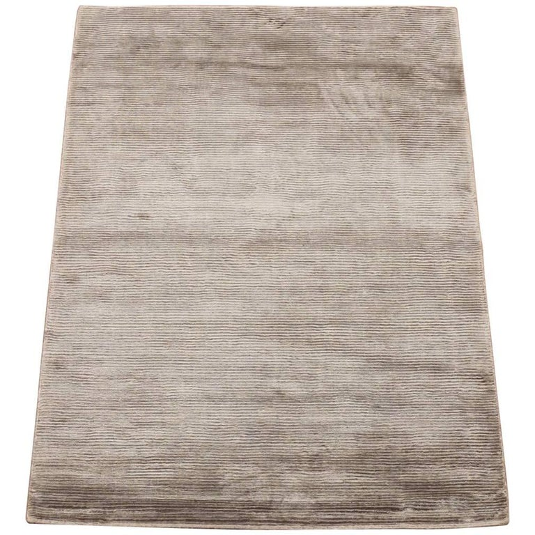 Solid Bamboo Silk Area Rug With Striped Design For