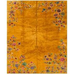 Early 20th Century Yellow/Gold Chinese Nichols Carpet