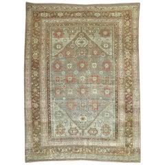 Antique Persian Malayer Decorative Carpet in  Predominant Silver Color