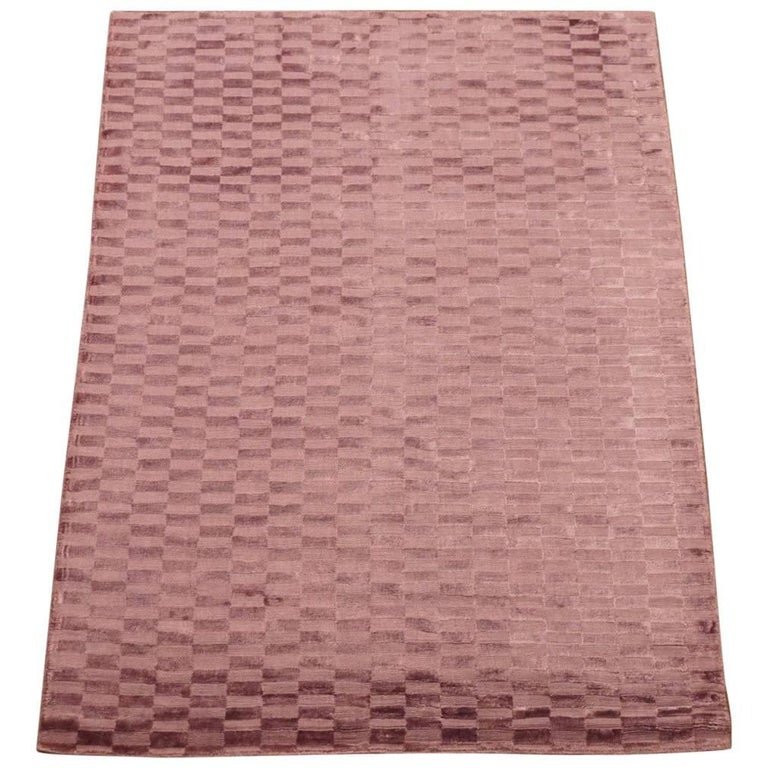 Bamboo Silk Area Rug With Sculptured Design For Sale At