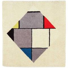 "Vintage Square Modernist Scandinavian Mondrian Design Rug. Size: 5' 2"" x 5' 2"""