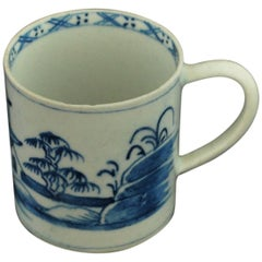 "Coffee Can, Blue and White ""Residence"", Bow Porcelain, circa 1755"