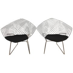 Bertoia Diamond Chairs with Black Wool Pads by Knoll