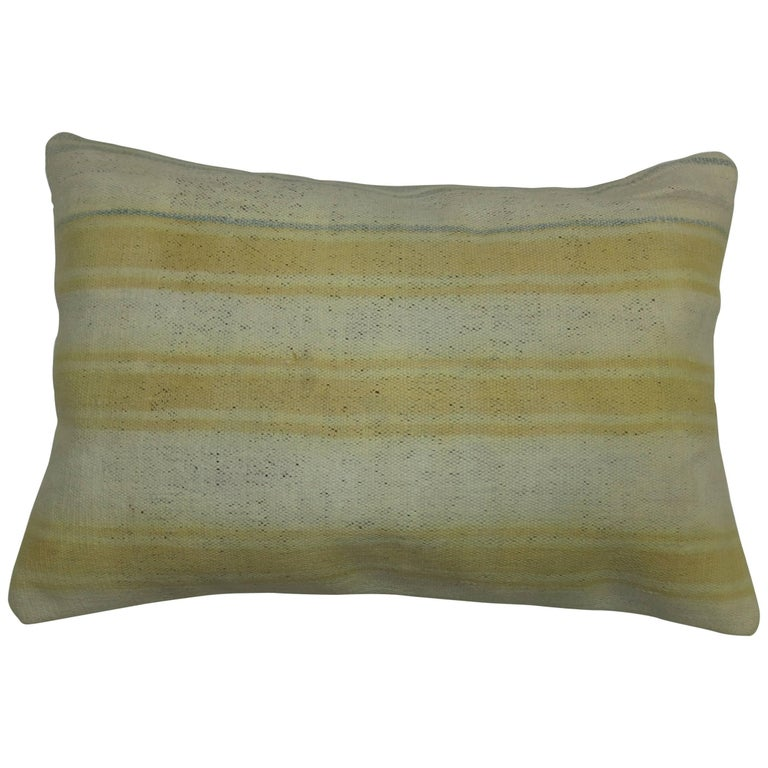Kilim Ivory Yellow Indian Dhurrie Pillow For Sale