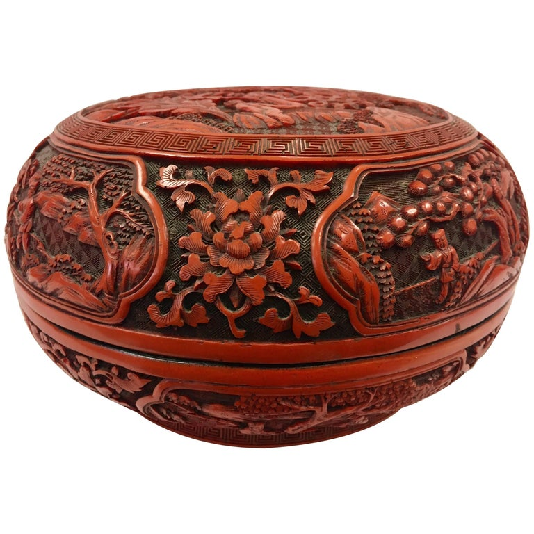 Round Decorative Boxes: Cinnabar Carved Asian Lidded Round Box For Sale At 1stdibs