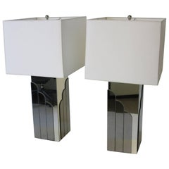 Glamorous Pierre Cardin Styled Chromed Metal and Mirrored Table Lamps