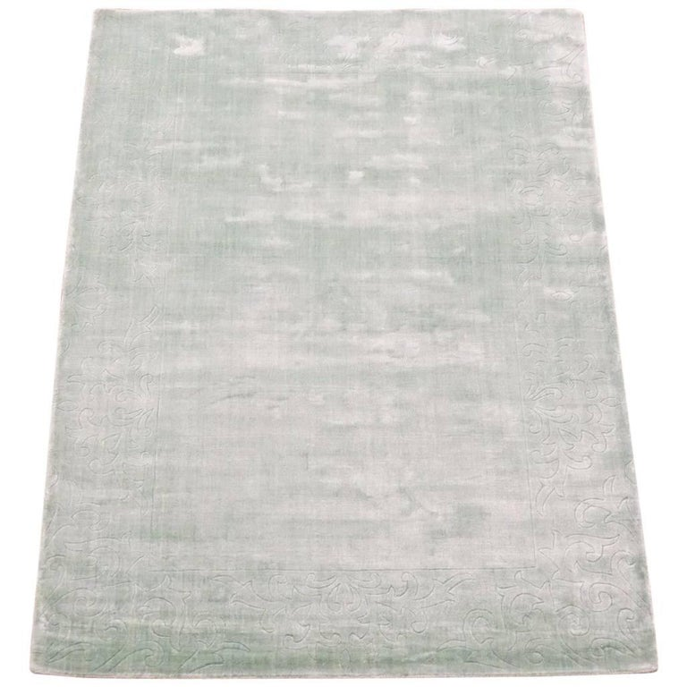 Bamboo Silk Area Rug With Sculptured Border For Sale At