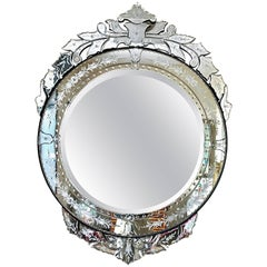 Venetian Italian Large Round Beveled Mirror