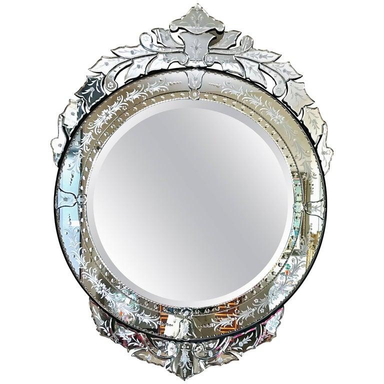 Venetian italian large round beveled mirror for sale at for Large round mirrors for sale