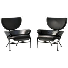 "Franco Albini, Pair of ""Tre Pezzi"" Lounge Chairs, Black Leather, 1959 Italian"