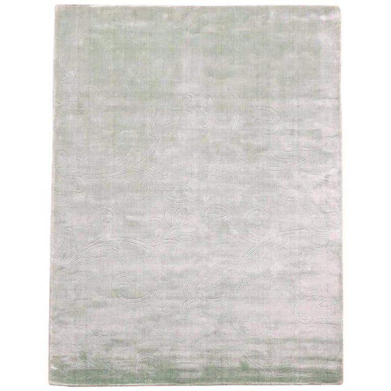 Light Green Bamboo Silk Rug With Sculptured Design For