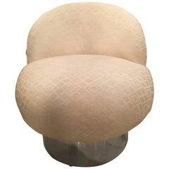 Chrome Swivel Chair Tub Barrel Leon Rosen Pace Style