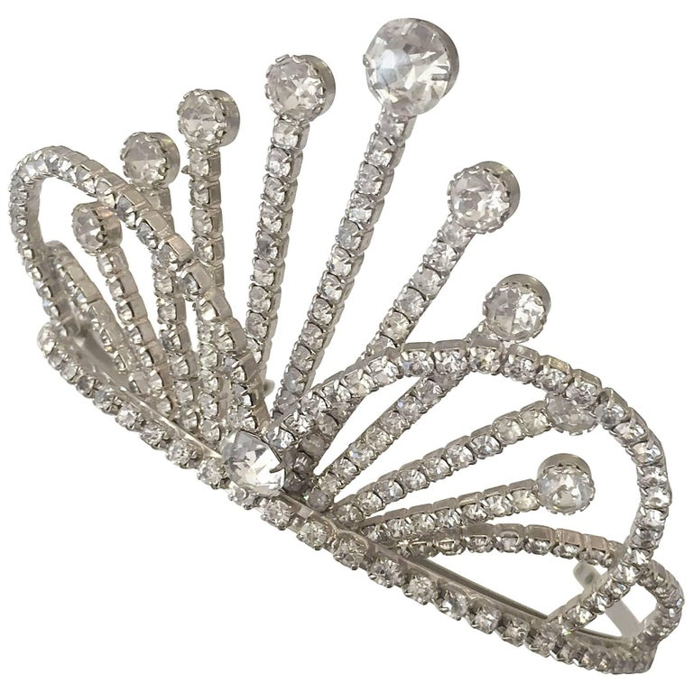 Rhinestone Tiara Wedding Crown, circa 1950 For Sale