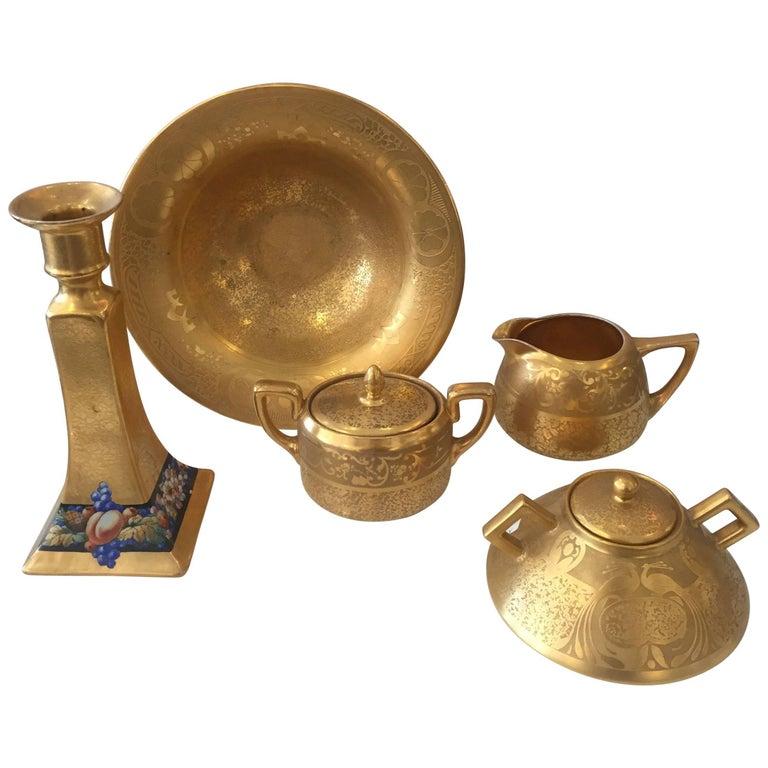 Set of Five Antique 18-Karat Porcelain Table Tea Limouge and Signed Osborne For Sale