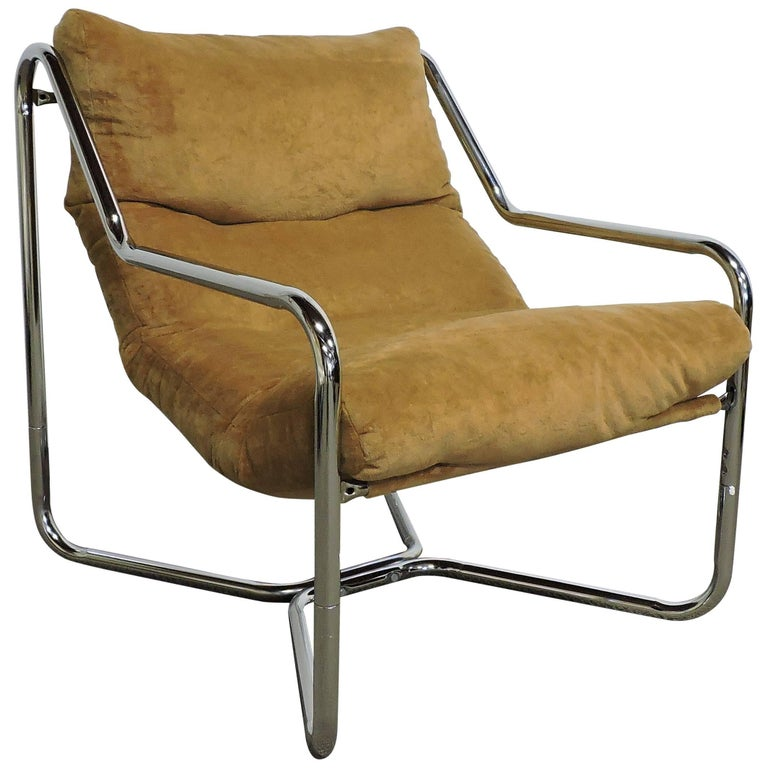 Mid-Century Modern Chrome Sling Lounge Chair