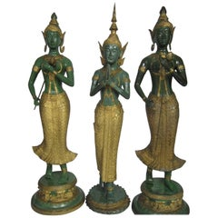 Gilt Decorated Bronze Statues, Thailand