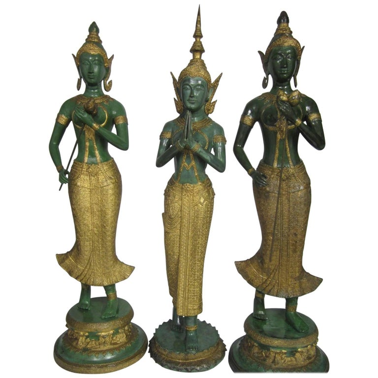 Gilt Decorated Bronze Statues, Thailand For Sale
