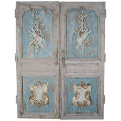 19th Century Pair of French Painted Armoire Doors