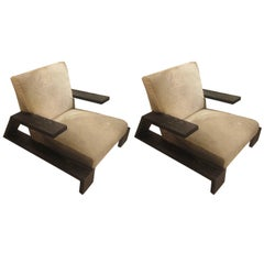 Pair of Jean-Michel Frank Style Cerused Oak Lounge Chairs Upholstered in Cowhide
