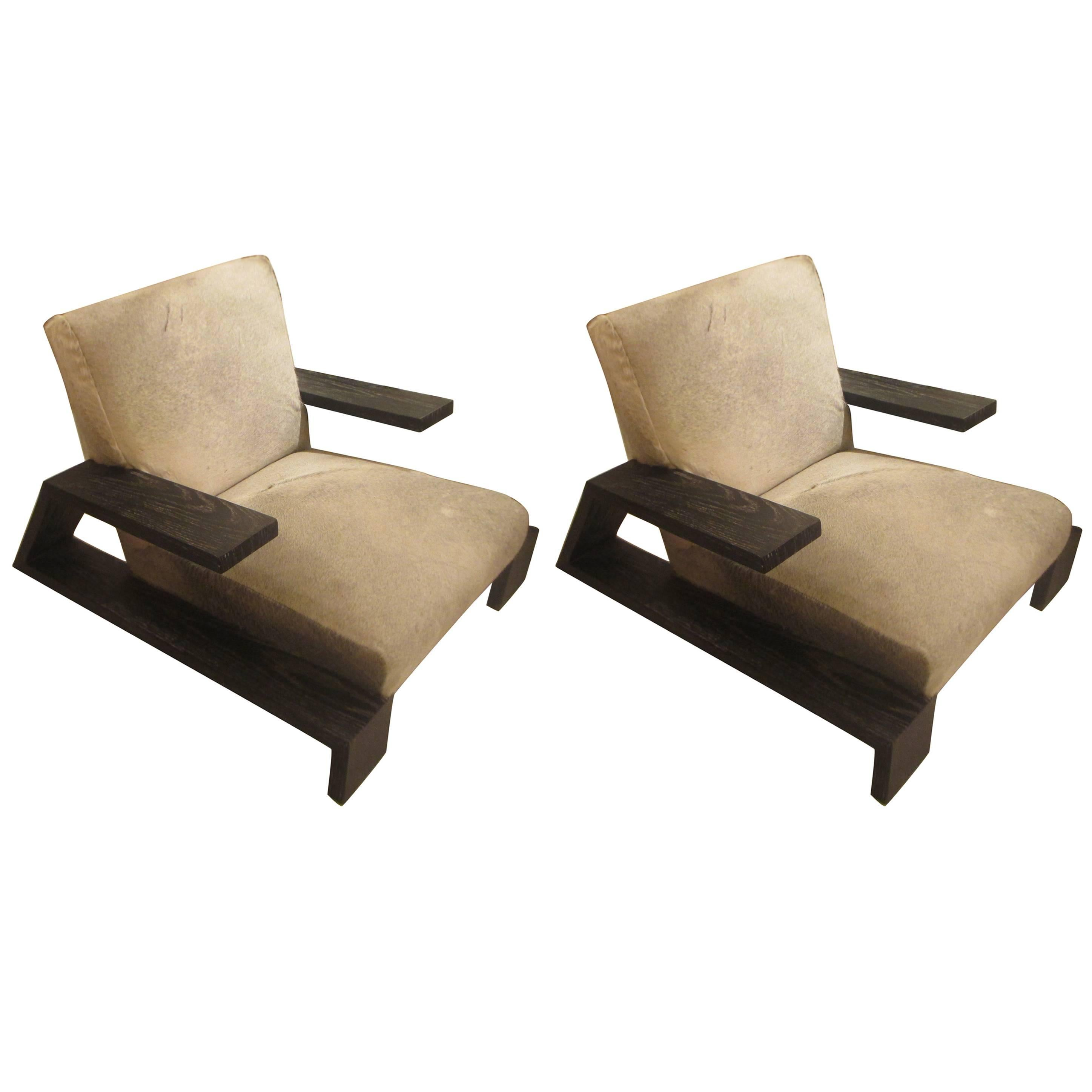 Pair Of Jean Michel Frank Style Cerused Oak Lounge Chairs Upholstered In  Cowhide