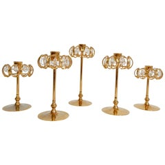 Gold and Crystal Candleholders by Lycenta, Sweden, Set of Five