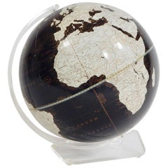 1970s Black and White Globe with Lucite Stand by George F. Cram