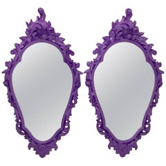 Pair of Purple Lacquered Rococo Style Carved Mirrors