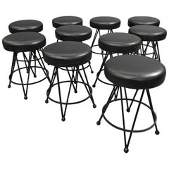 Mid-Century Modern Wrought Iron Vinyl Upholstered Swivel Stools