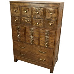 Globe Wernicke Tiger Oak and Brass Multi Drawer Office Cabinet