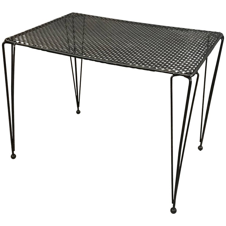 Mid-Century Modern Wrought Iron Mesh Side Table