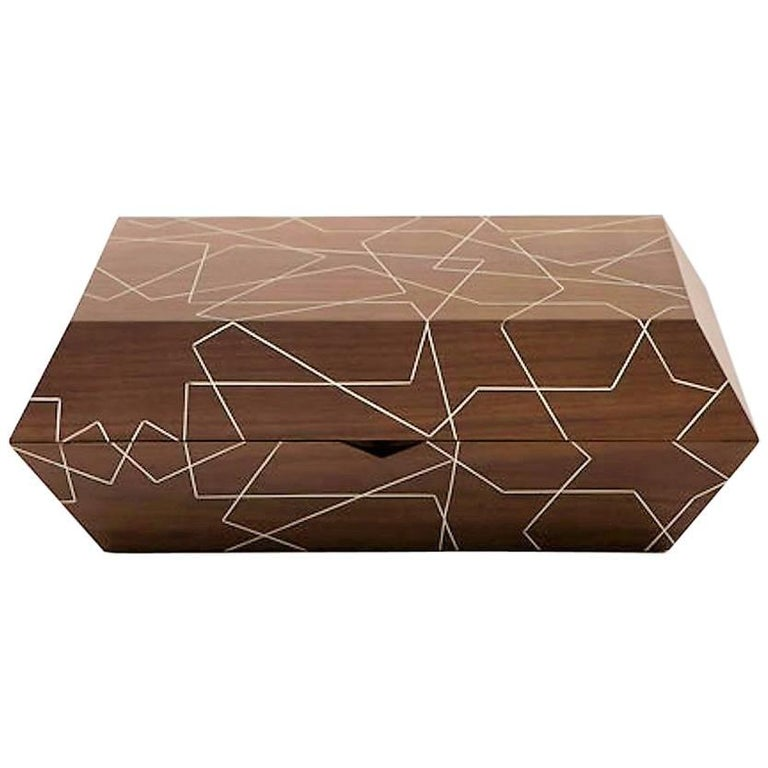 Star Cigar Box, Contemporary Gift, Walnut Cigar Box with Tin Inlay