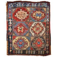 Handmade Antique Collectible Persian Kurdish Rug, 1870s