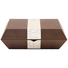 Cigar Box, Contemporary Gift, Walnut with Mother-of-Pear Inlay