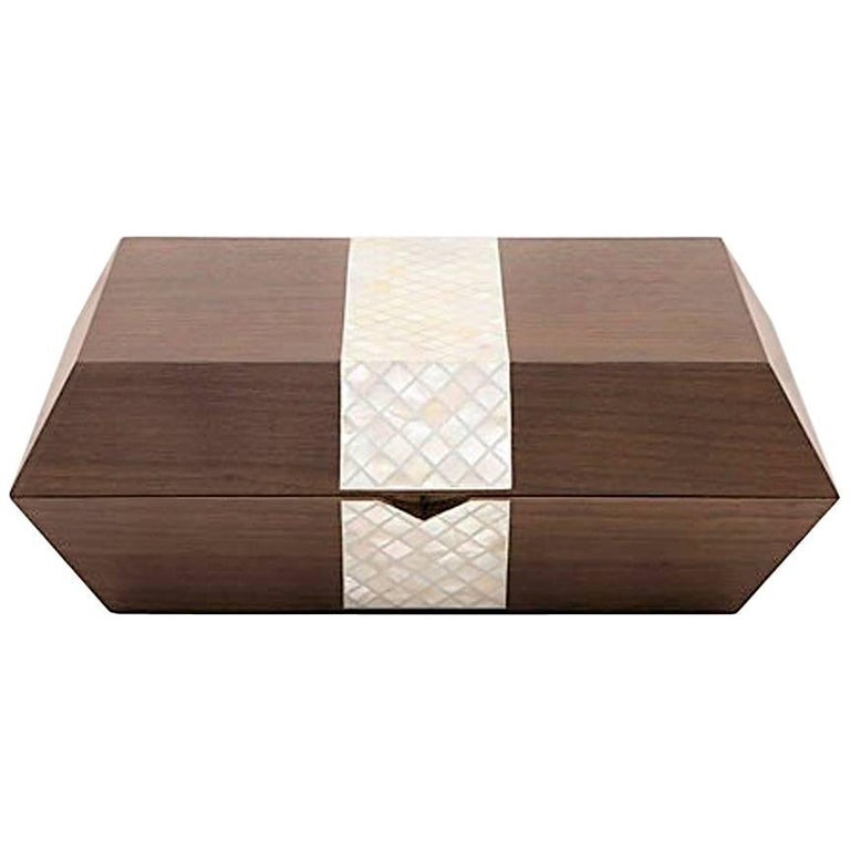 Cigar Box, Contemporary Gift, Walnut with Mother-of-Pear Inlay For Sale