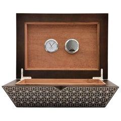 Arabesque Cigar Box, Contemporary Walnut Cigar Box with Humidifier