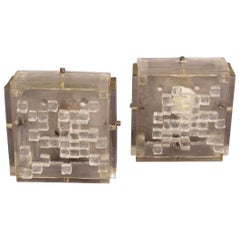 Pair of Angelo Brotto style Glass Sconces
