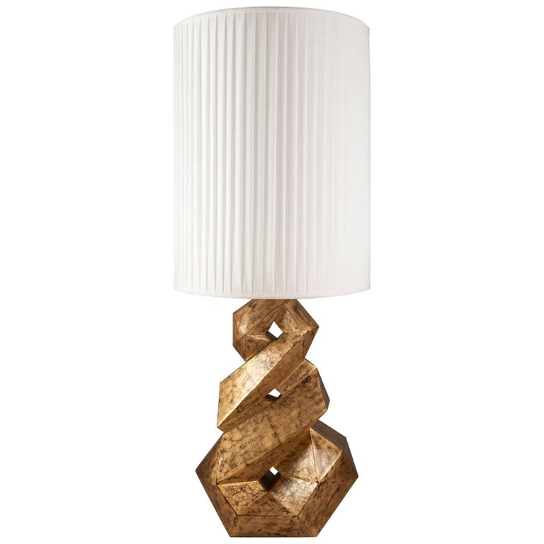 Artemus Table Lamp with Hand-Carved Solid Wood Base