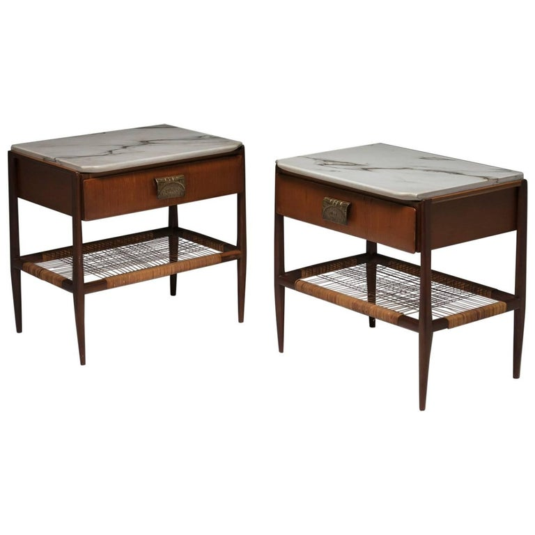 Pair of Wood and Marble Nightstands by Cavatorta For Sale