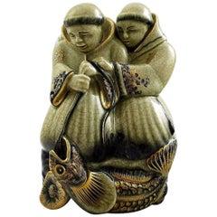 Rare Georg Thylstrup for Royal Copenhagen Crackled / Craquelé Figure, Two Monks